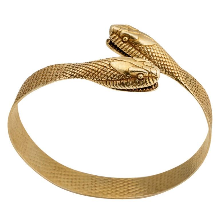 Hypnotic Art Deco Gold Snake Bracelet at 1stdibs