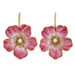 Enameled Floral Edwardian Earrings with Natural Pearls