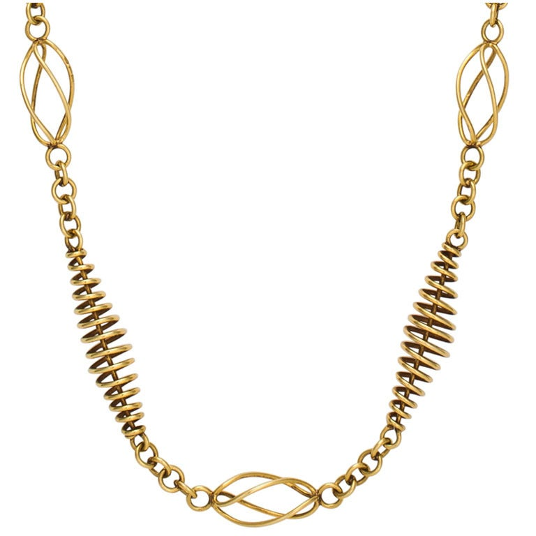 Machine Age Gold Coil Necklace 1