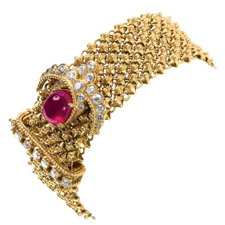 van cleef and arpels gold diamond ruby bracelet at 1stdibs