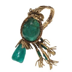 French 1950's Cabochon Emerald Gold Tassle Bracelet