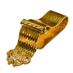 Van Cleef & Arpels Sophisticated Enamel Diamond Yellow Gold Bracelet