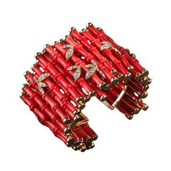 Exquisite Coral Diamond Cuff Bracelet