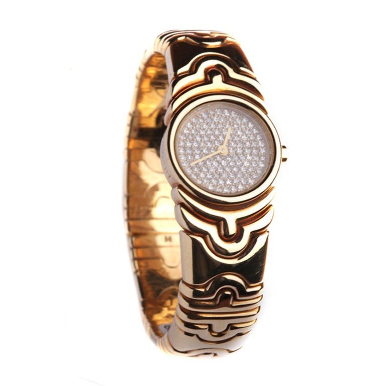 Bulgari Lady's Yellow Gold and Diamond Parenthesis Bangle Watch