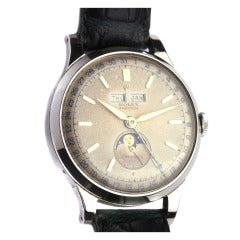 """Rolex Rare Stainless Steel Triple-Calendar Moonphase """"Padellone"""" Wristwatch"""