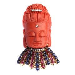 A Coral and Precious Stones Buddha Brooch/Pendant