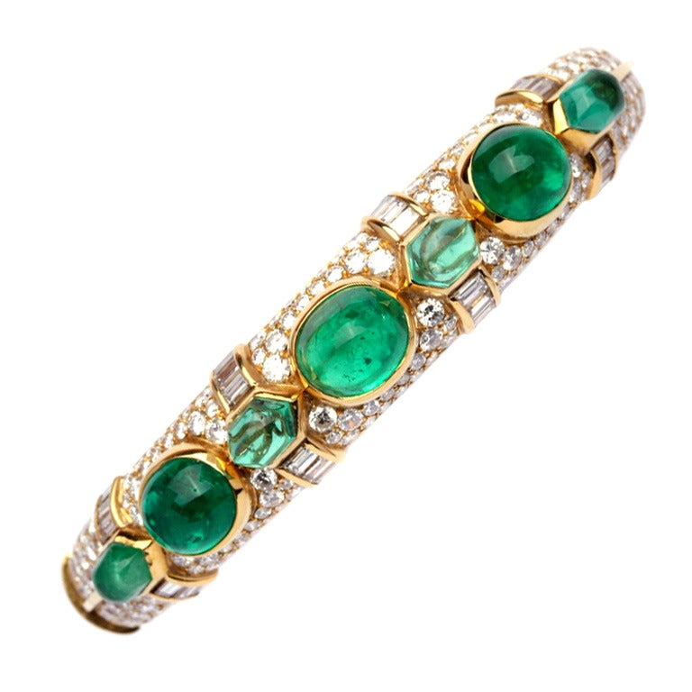 A Bulgari Emerald Diamond Bracelet For Sale
