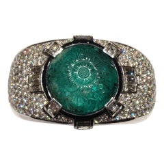 Magnificent Carved Mughal Emerald and Diamond Bangle