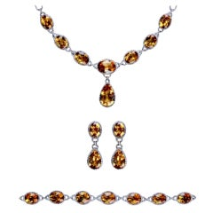 Modern Golden Citrine and Diamond Parure
