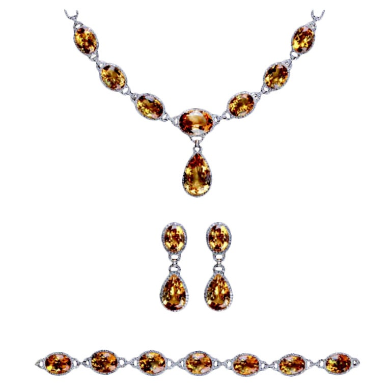 Modern Golden Citrine And Diamond Parure For Sale At 1stdibs