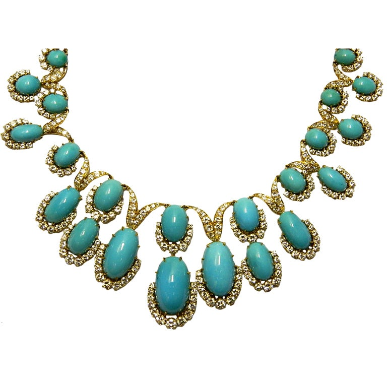 A Magnificent Turquoise and Diamond Parure by Van Cleef 1
