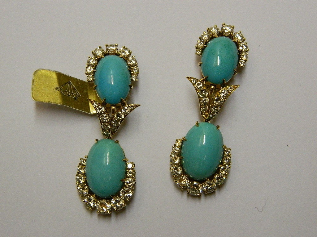 A Magnificent Turquoise and Diamond Parure by Van Cleef 3