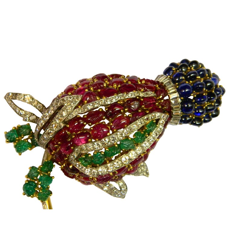 A Superb Tutti Frutti Brooch Mounted by Cartier