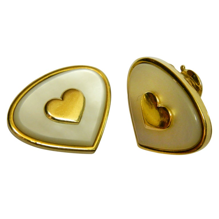Marina B Mother Of Pearl Gold Heart Shaped Earrings For