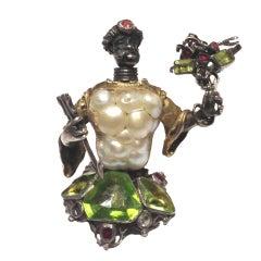 Antique Venetian Blister Pearl Blackamoor Brooch