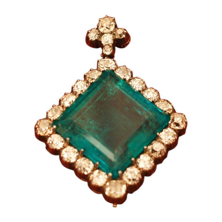 An Extraordinary Antique Colombian Emerald Pendant 1