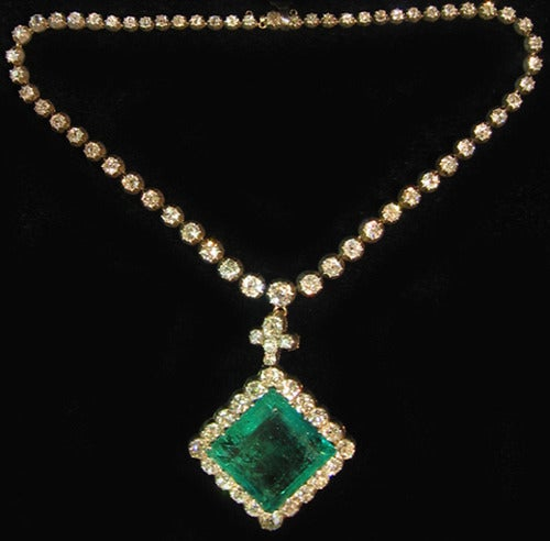 Women's An Extraordinary Antique Colombian Emerald Pendant For Sale