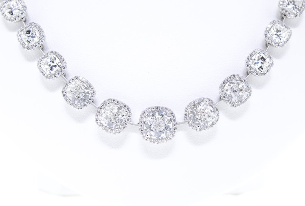 Beautiful Cushion Cut Diamond Necklace, 27 Carat Total 2