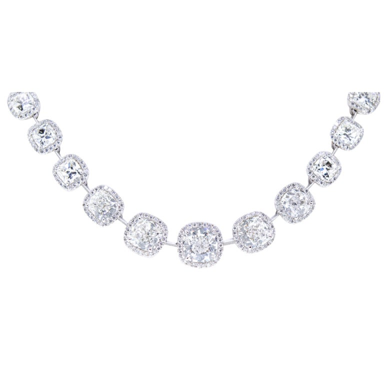 Beautiful Cushion Cut Diamond Necklace, 27 Carats Total! For Sale ...
