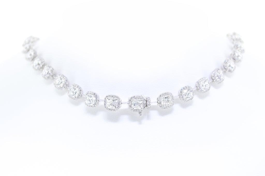 Beautiful Cushion Cut Diamond Necklace, 27 Carat Total 4
