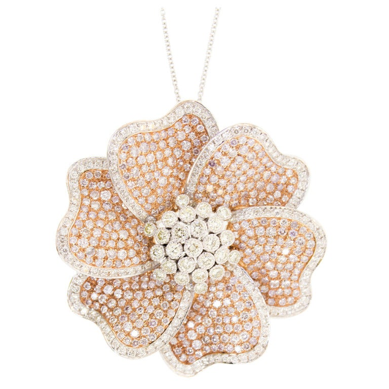 Pink Diamond Necklace Pendant and Pin