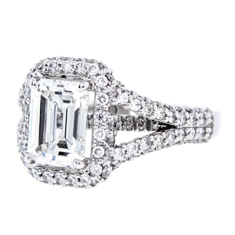 Beautiful Platinum 2 01 Carat Emerald Cut Diamond RingEmerald Cut Diamond 2 Carat