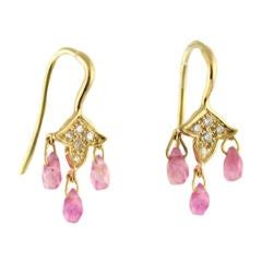 18Kt Gold, Pink Sapphire and Diamond Leaf Drop Earrings