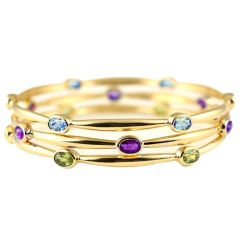 18 Kt Gold &  Peridot, Amethyst or Aquamarine Bangle Bracelets