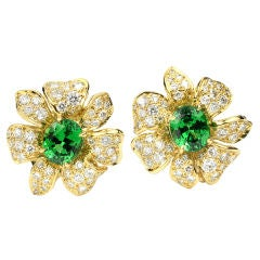 Diamond and Tsavorite and Gold Flower Earrings