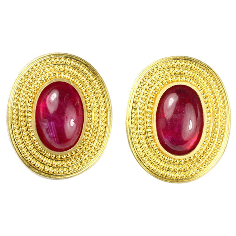 Natural Ruby and Granulated 22kt Gold Earrings