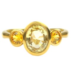 Yellow Sapphire and 22kt Gold Ring