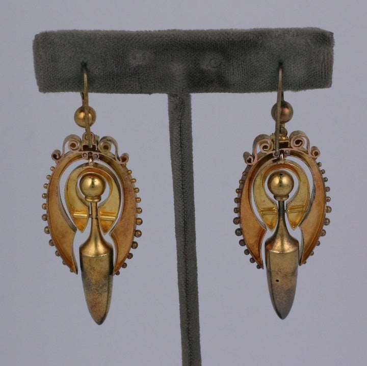 Lovely Victorian Gold Urn Earrings In Excellent Condition For Sale In Riverdale, NY