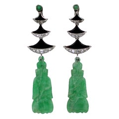 Art Deco Jade Onyx Diamond Temple Earrings