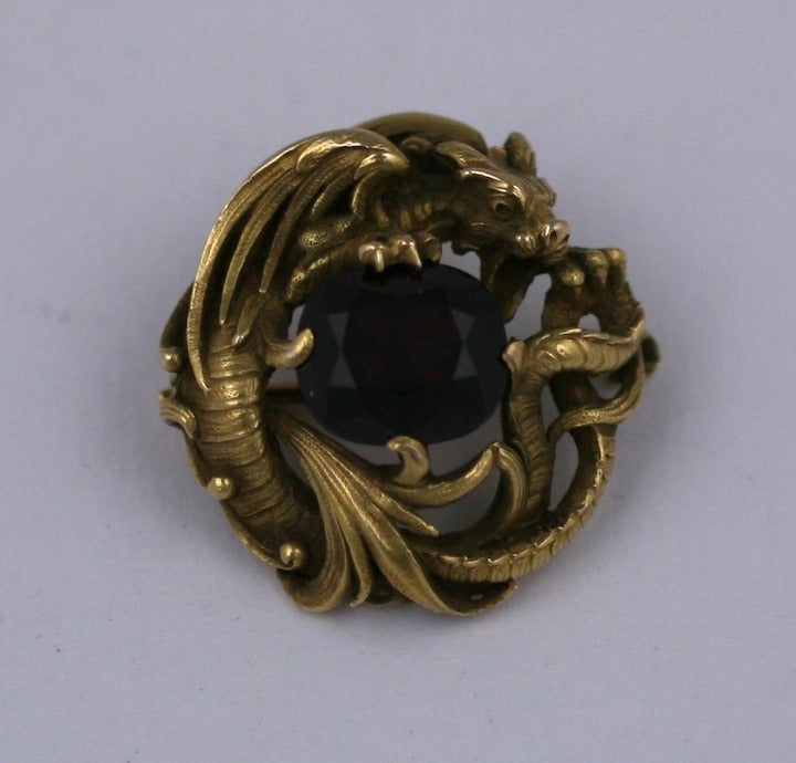 Gustav Manz for F. Walter Lawrence Art Nouveau Chimera Brooch 3
