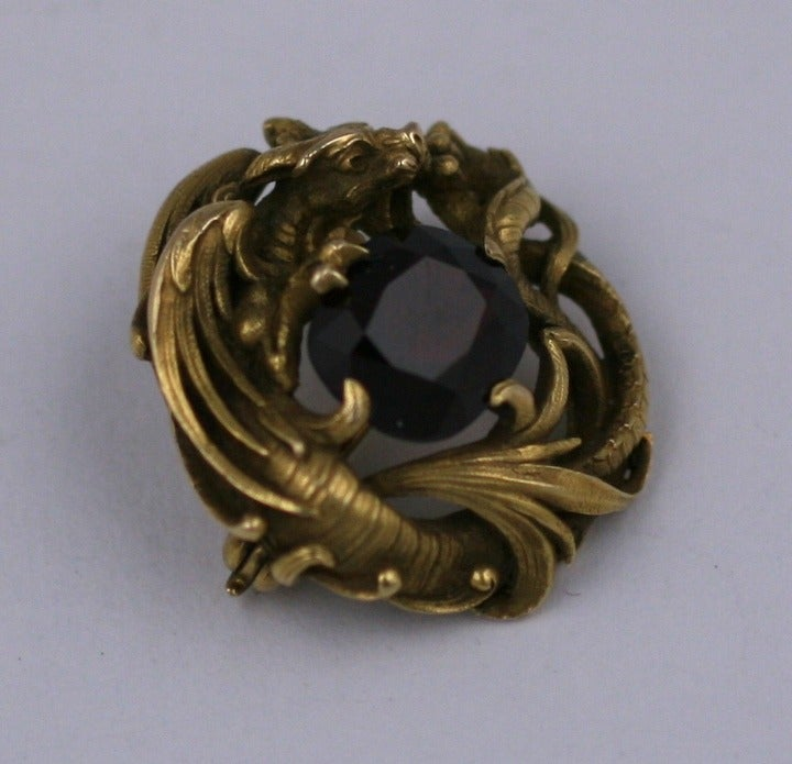 Gustav Manz for F. Walter Lawrence Art Nouveau Chimera Brooch 5