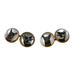 Fine Essex Crystal Dog Cufflinks