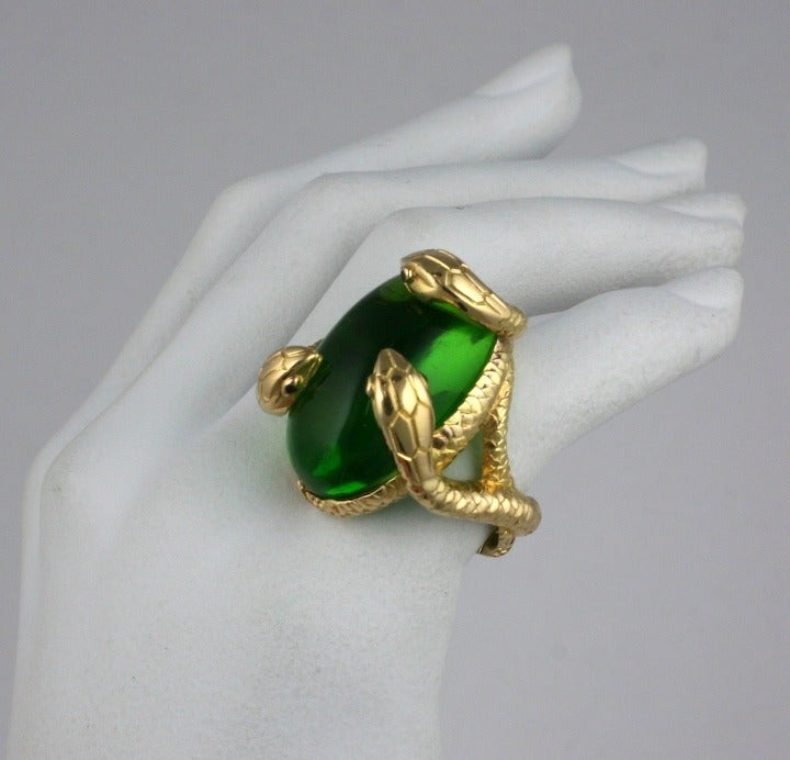 Snake and Pate de Verre Egg Ring 3