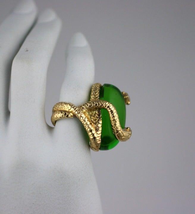 Snake and Pate de Verre Egg Ring 4