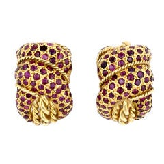 Elegant Pave Ruby Gold Twist Knot Earclips