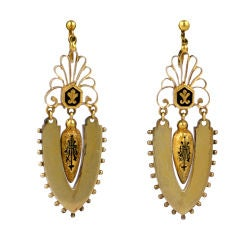 Lovely Articulated Victorian Enamel Gold Earrings