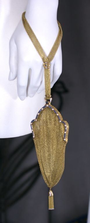 Art Deco Sapphire Diamond Gold Mesh Purse 5