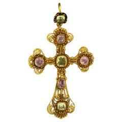 19th C. Georgian Cannetile Cross of Morganite and Peridot