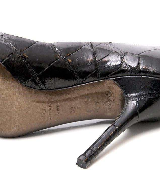 Fendi Black Crocodile-skin Pumps 5
