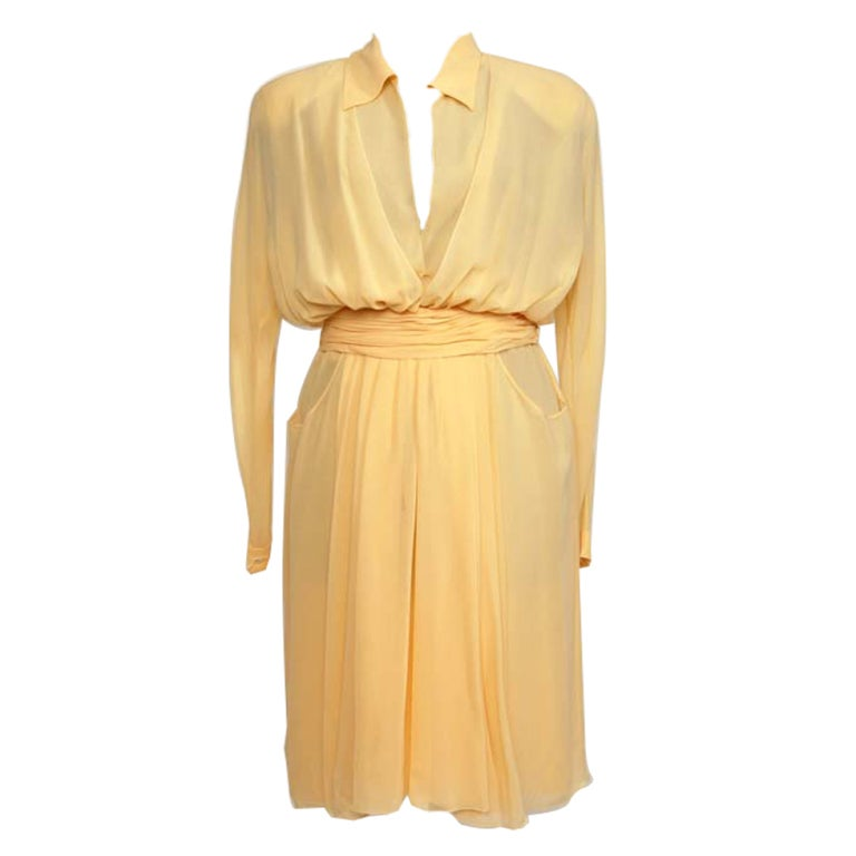 CHANEL Sheer crepe shirtdress with pleated waist belt in nude 1