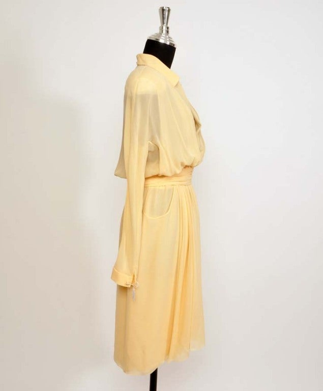 CHANEL Sheer crepe shirtdress with pleated waist belt in nude 3