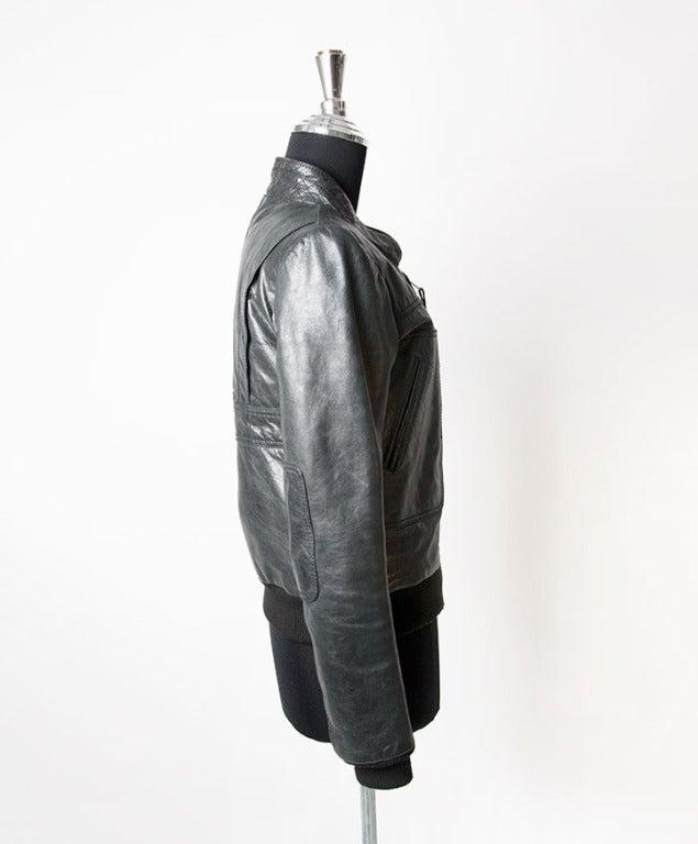 Balenciaga grey to black bomber jacket. Zip fastening and piped pockets at the waist.