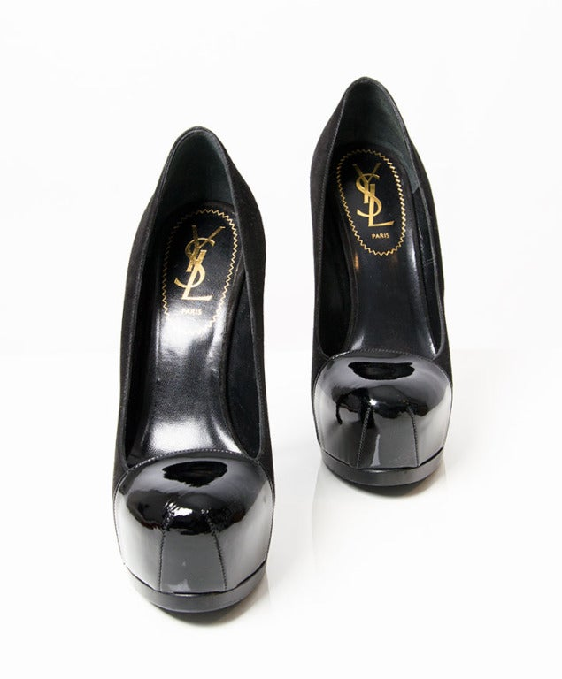 Yves Saint Laurent Suede and Patent Tribtoo Pumps. 2