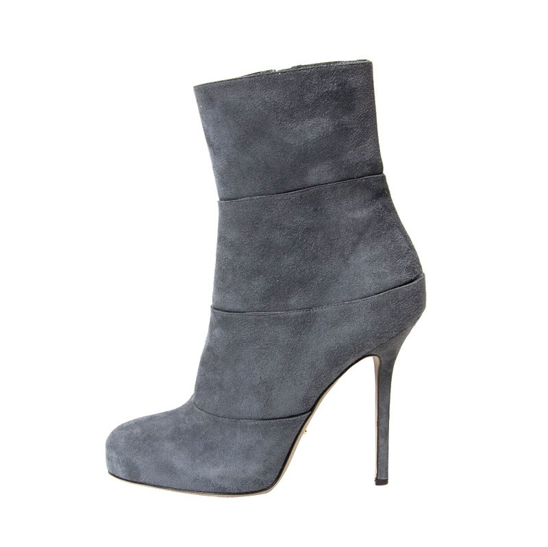 Sergio Rossi Grey Blue Suede Ankle Boots For Sale