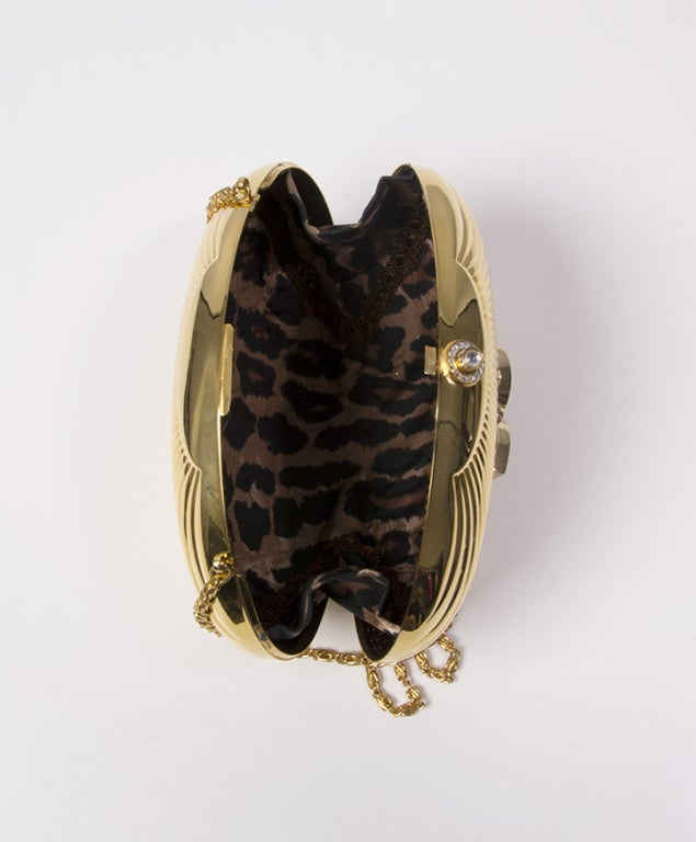 Dolce & Gabbana metal shell clutch with embellished logo 3