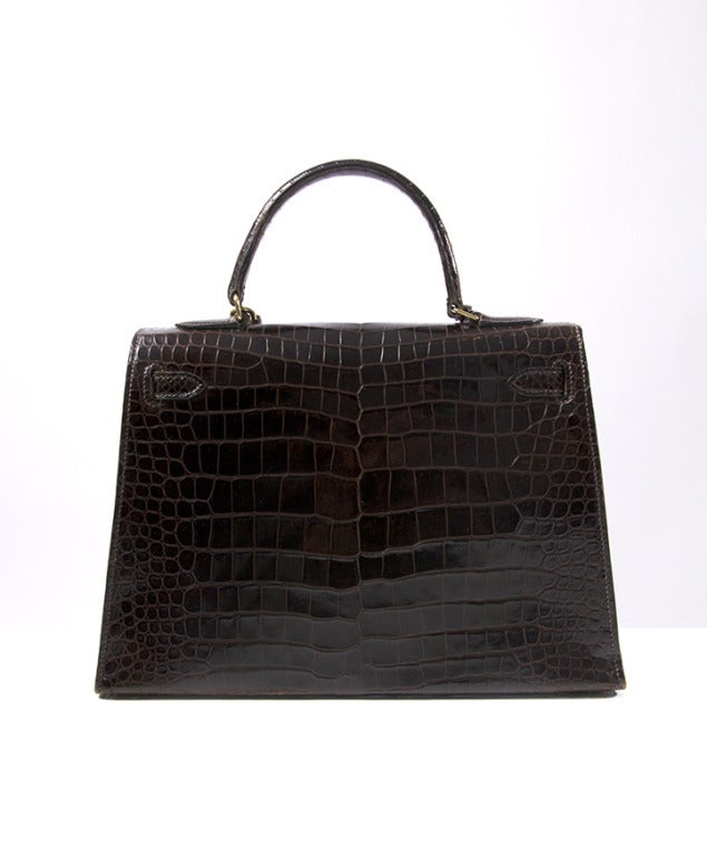 Hermes Brown Kelly 32 cm Crocodile Prosorus bag 2